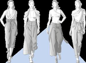 Vier weite Hosen wie die High-Waist-Marlenehosen, Paperbag-Hosen und Culottes, die mit unseren Vintage-Schnittmustern kreiert werden können.