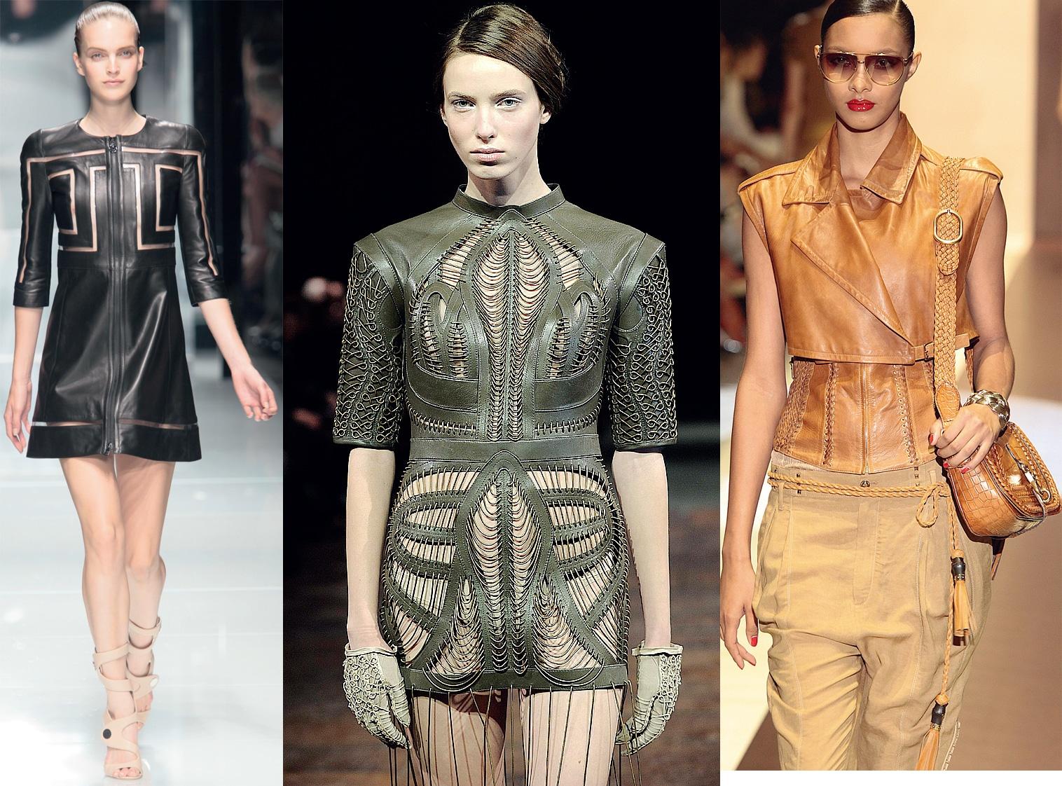 Mode aus Leder auf dem Laufsteg