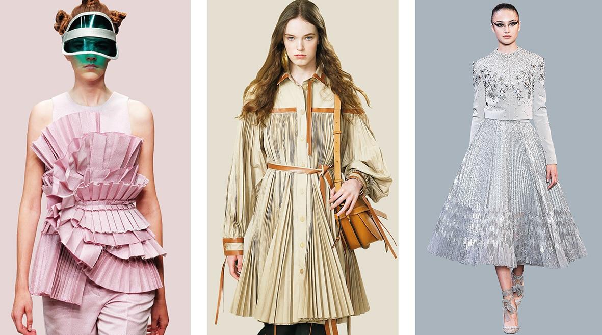 Zu sehen sind Plisserock, Plissekleid und eine plissierte Bluse