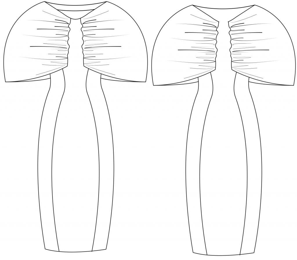 Diese technische Zeichnung zeigt die Vorder-und Rückansicht eines Etuikleids mit Ärmelvariante für Damen. Dieses Modell gibt es als Schnittmuster.
