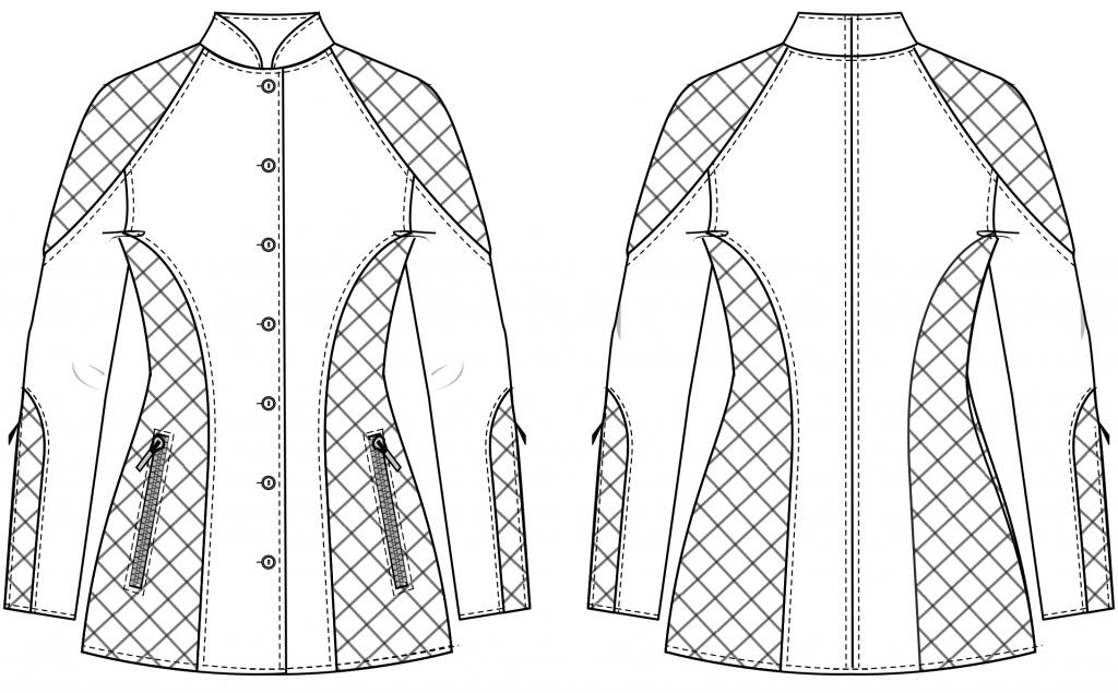 Diese technische Zeichnung zeigt die Vorder-und Rückansicht eines Hoodies mit Knopfleiste für Damen. Dieses Modell gibt es als Schnittmuster.