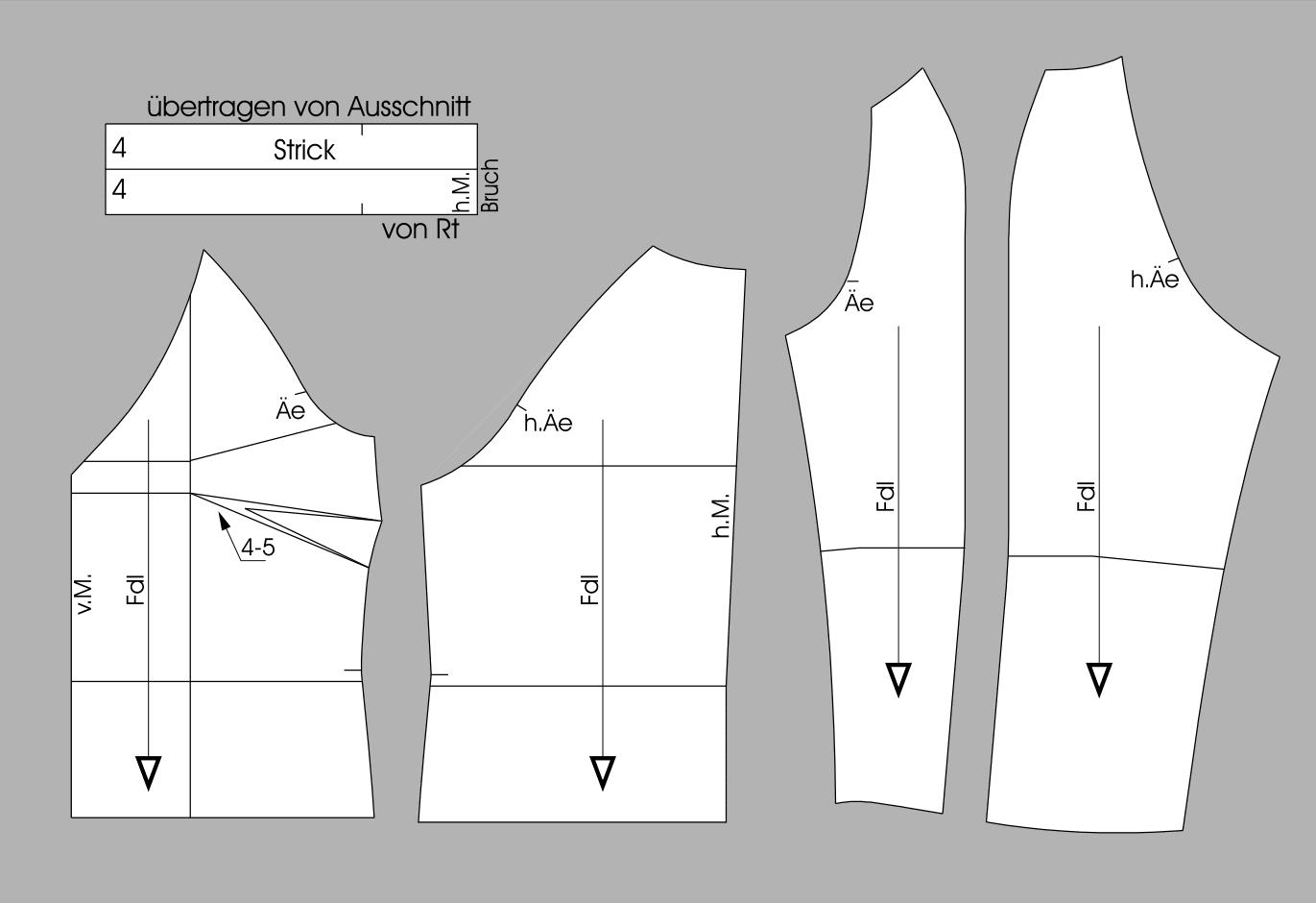 Schnittteile für Raglanshirt in großen Größen