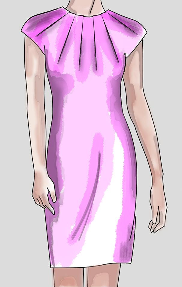 Modellzeichnung Kleid mit Abnäher Varianten