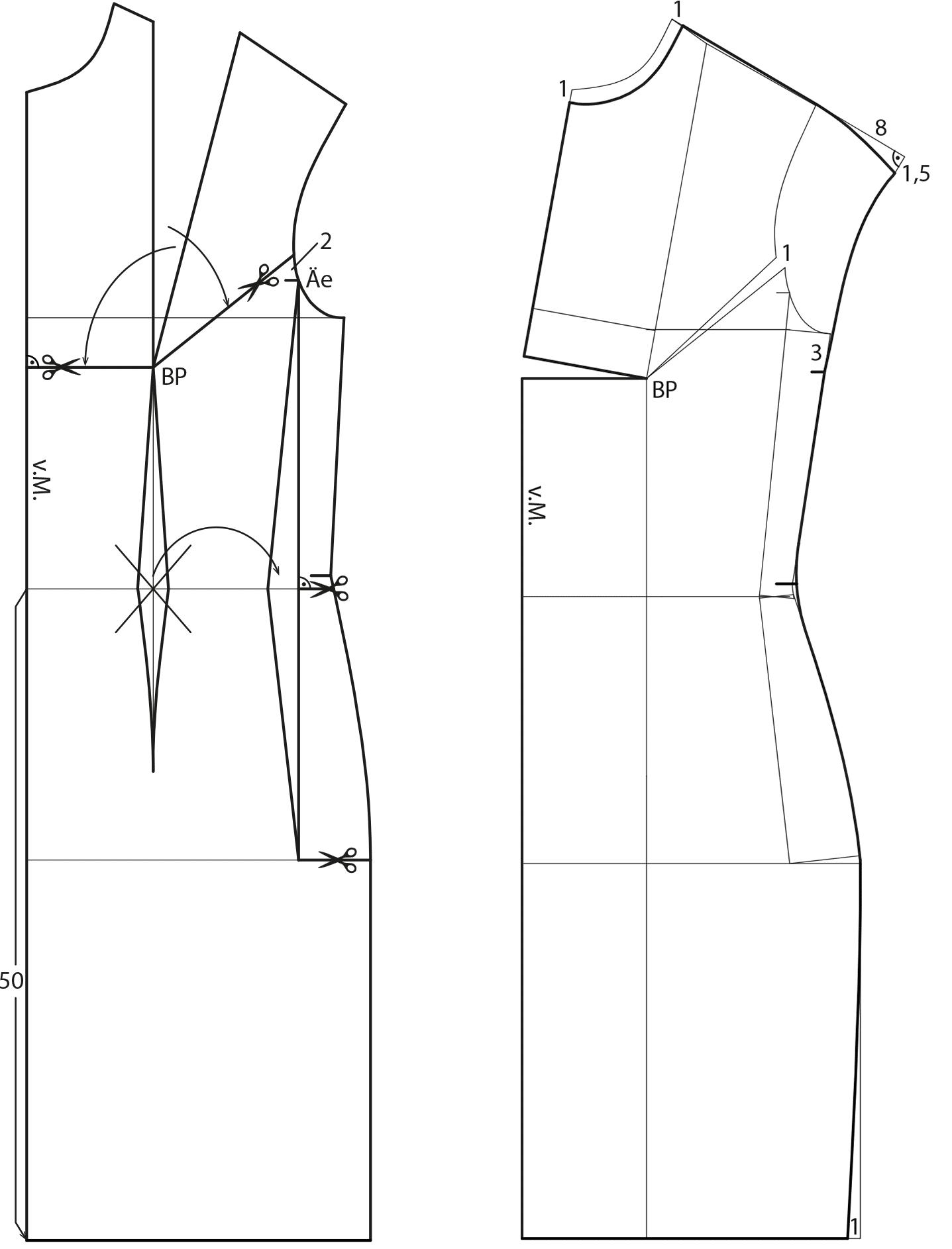 Die Schnitttechnik von einem Oberteil ist zu sehen. Dort wurden die Abnäher verlegt.