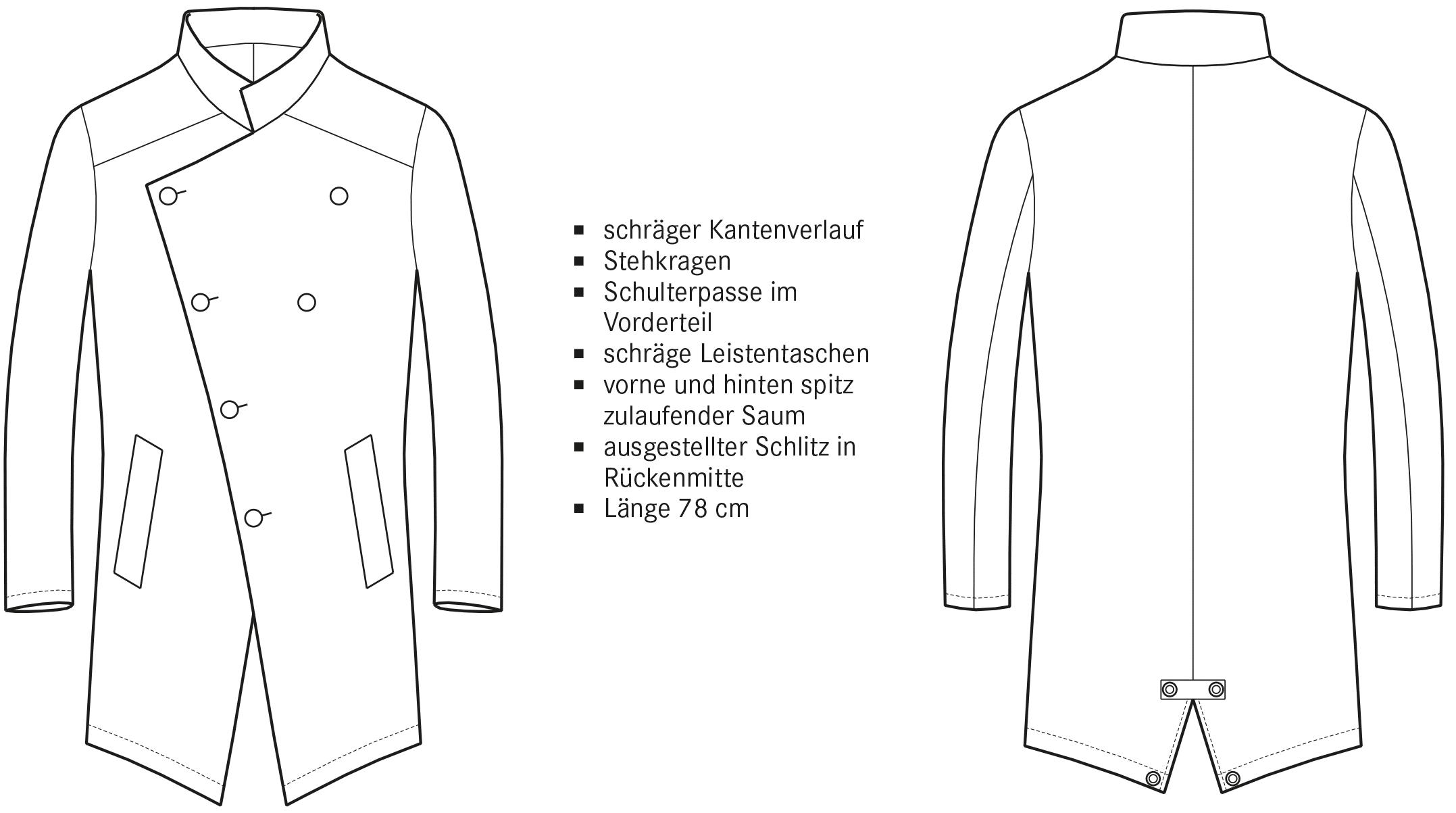 Die technische Zeichnung eines Asymmetrischen Mantels ist abgebildet. Die Vorder- und Rückansicht inklusive Beschreibung der Schnitttechnik ist zu sehen.