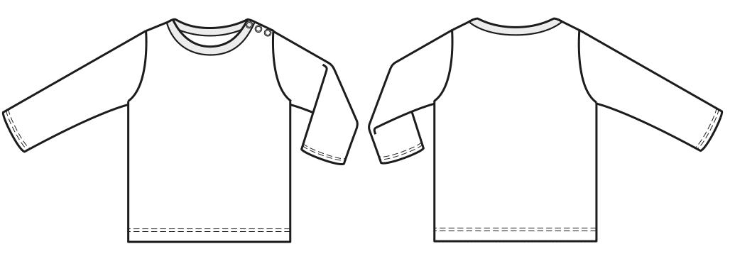 Eine technische Zeichnung von einem Langarmhemd für Babys ist zu sehen.