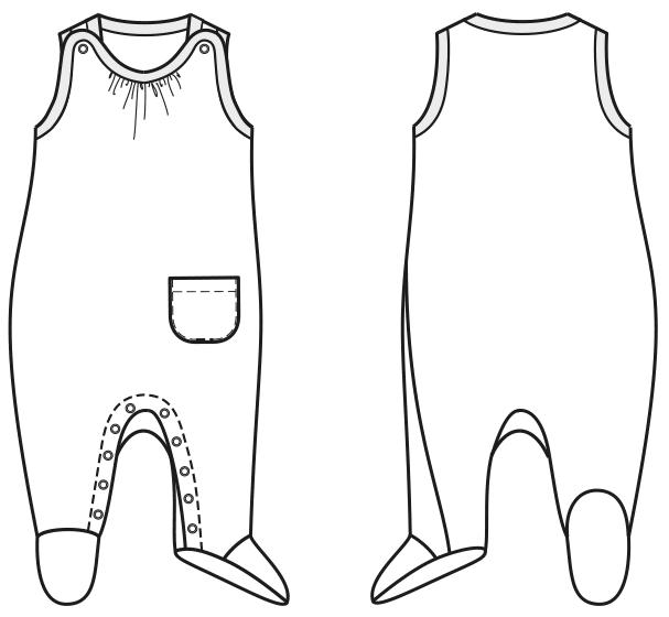 Eine technische Zeichnung von einem Schlafanzug für Babys ist zu sehen.