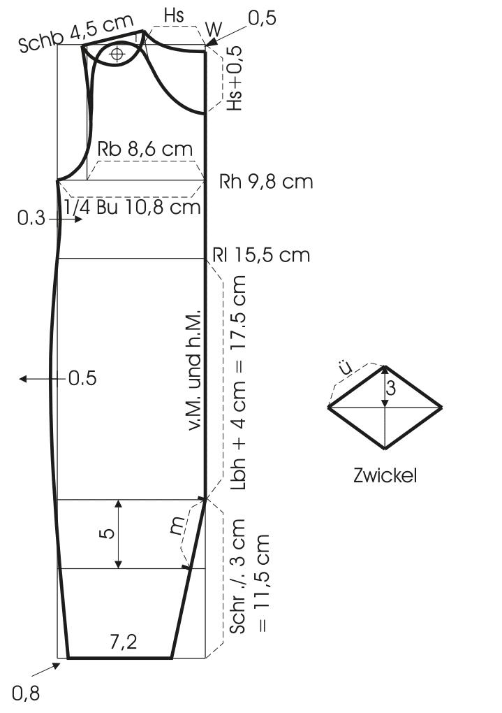 Die Abbildung zeigt die Schnitttechnik von einem Baby Schlafanzug.