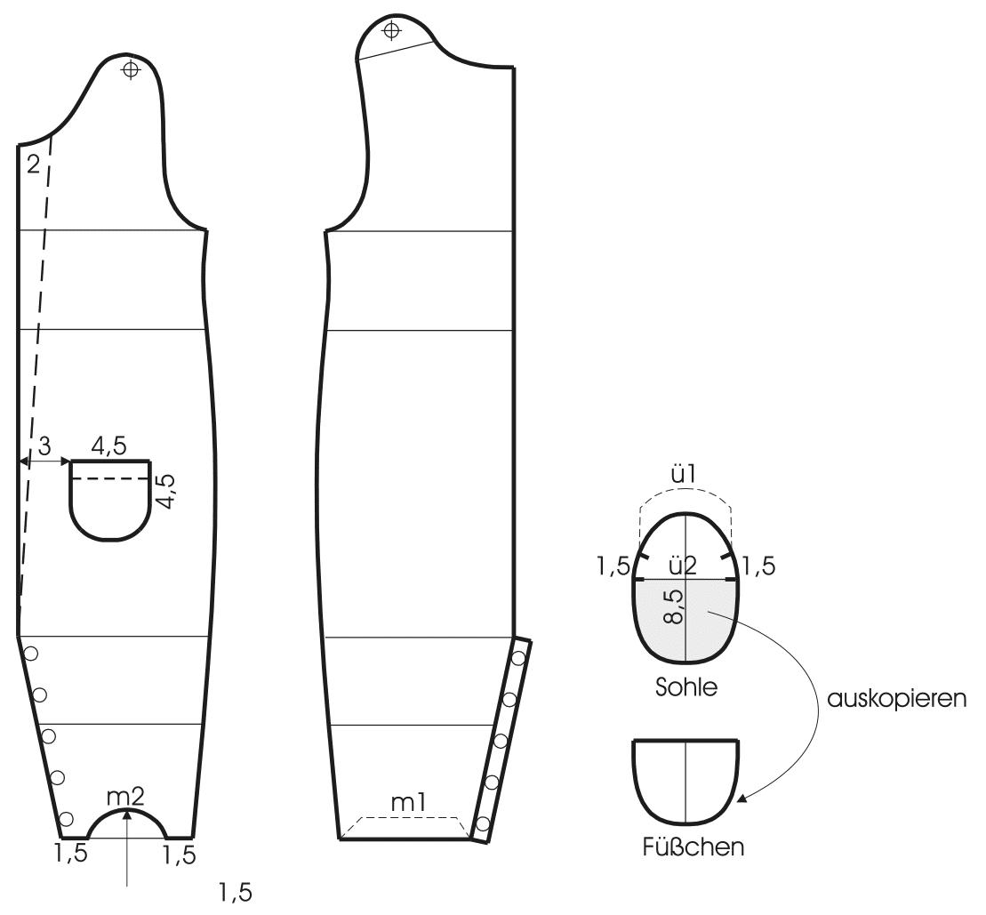 Die Abbildung zeigt die Schnittechnik von einem Baby Schlafanzug.