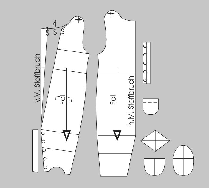 Die Abbildung zeigt die fertigen Schnittteile aus der Schnitttechnik für einen baby Schlafanzug.