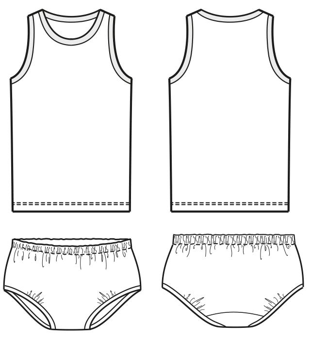 Technische Zeichnung von einem Unterhemd und Unterhose für die Größe 86 für Kinder