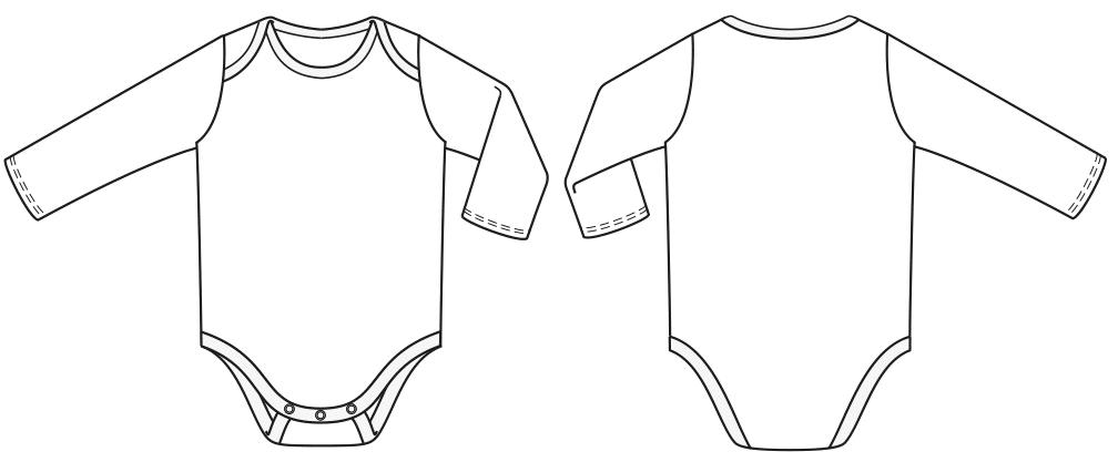 Technische Zeichnung von einem Unterhemd und Unterhose für die Größe 74 für Kinder