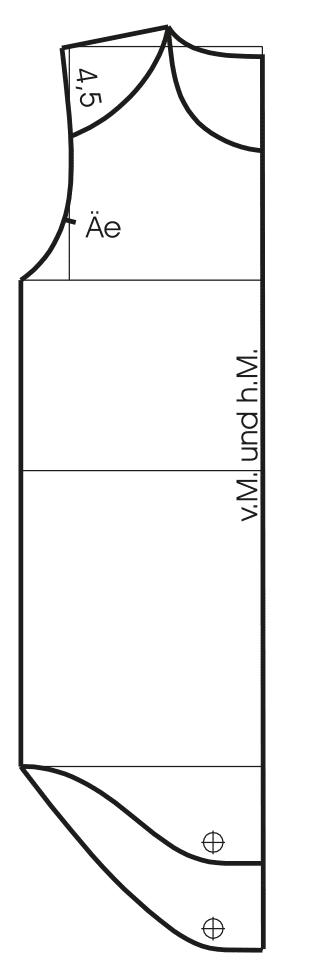 Schnittkonstruktion Langarmbody für Kinder in Größe 74 Vorder- und Rückansicht