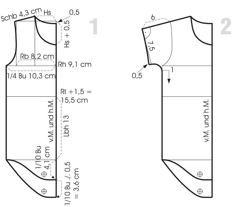 Schnittkonstruktion Wickelbody Vorder-und Rückenteil Größe 50 für Kinder.