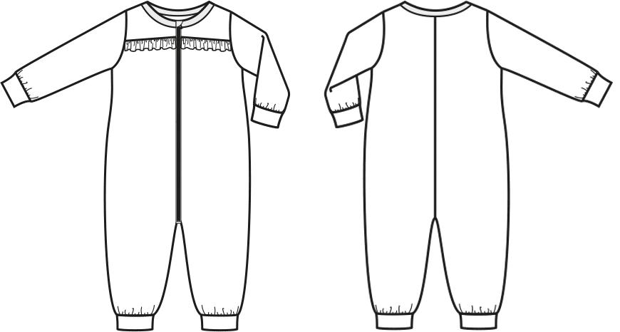 Eine technische Zeichnung von einer Strampler für Babys ist zu sehen.