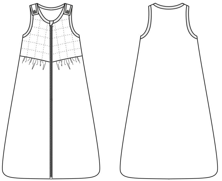 Technische Zeichnung Babyschlafsack in Größe 68