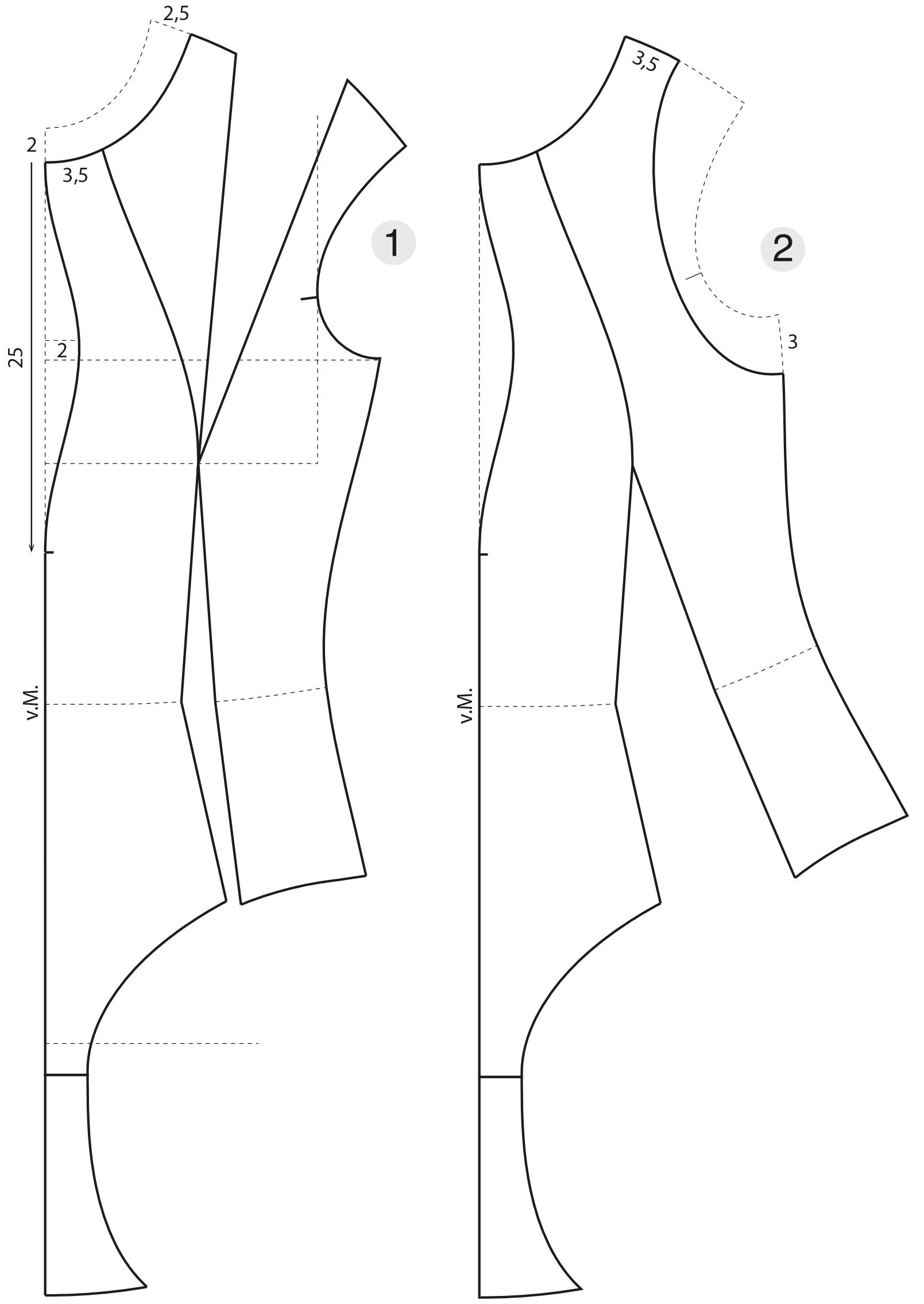 Die Schnittkonstruktion eines Badeanzuges mit Teilungsnähten ist abgebildet.