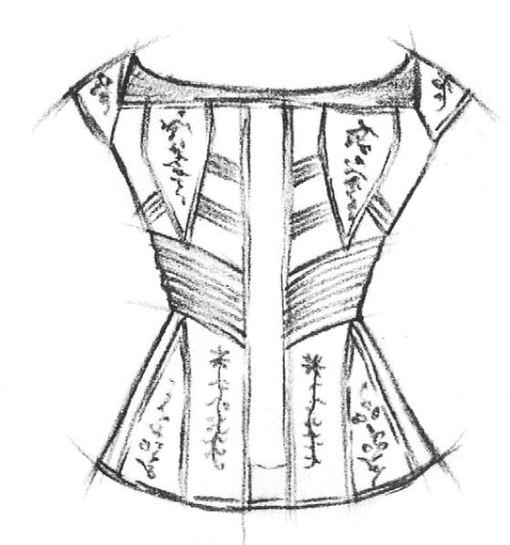 Abgebildet ist eine Zeichnung eines Korsetts aus der Zeit des Biedermeiers.