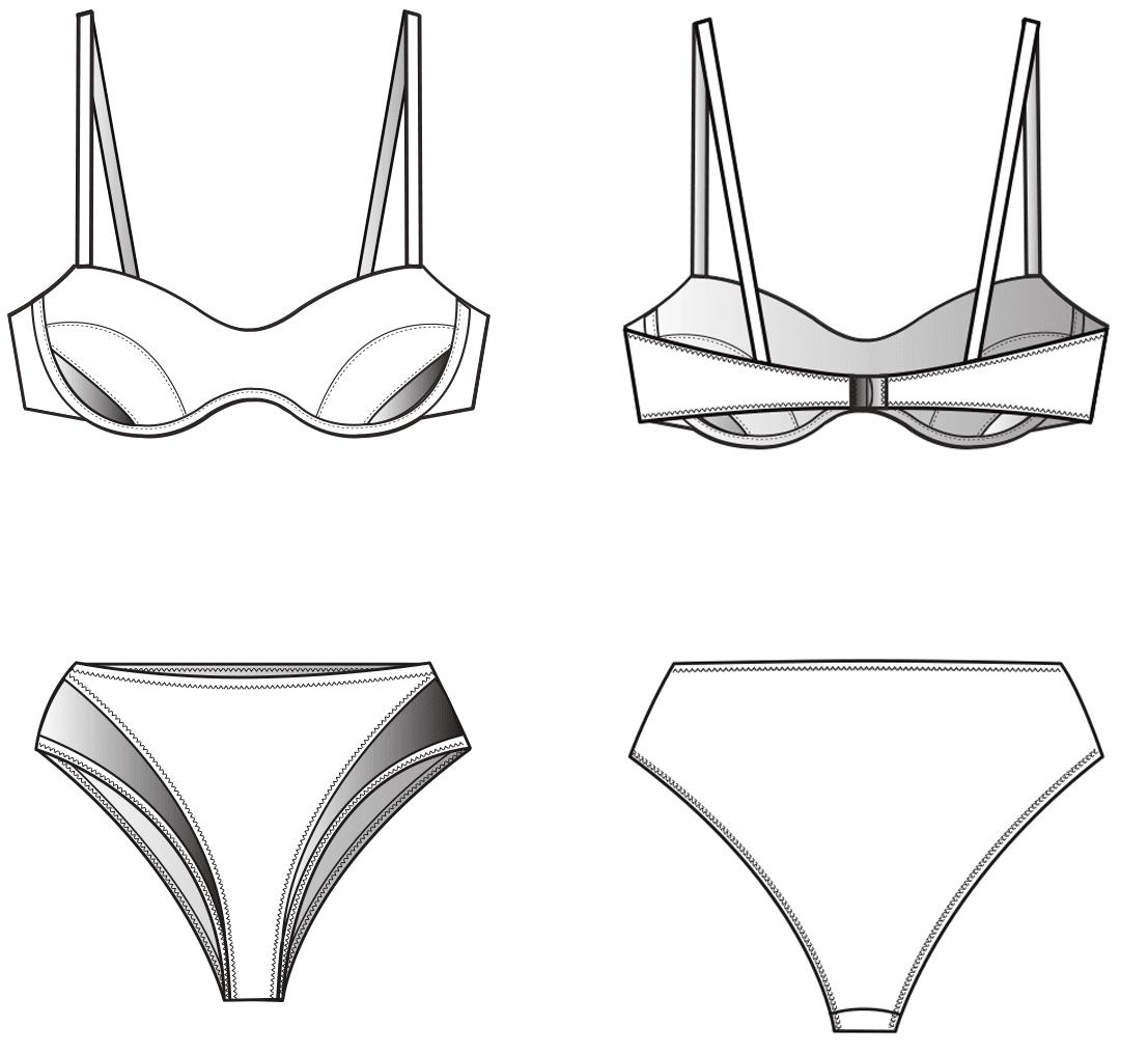 Technische Zeichnung Vorder- und Rückansicht Bikini mit Einsätzen für die Schnittkonstruktion