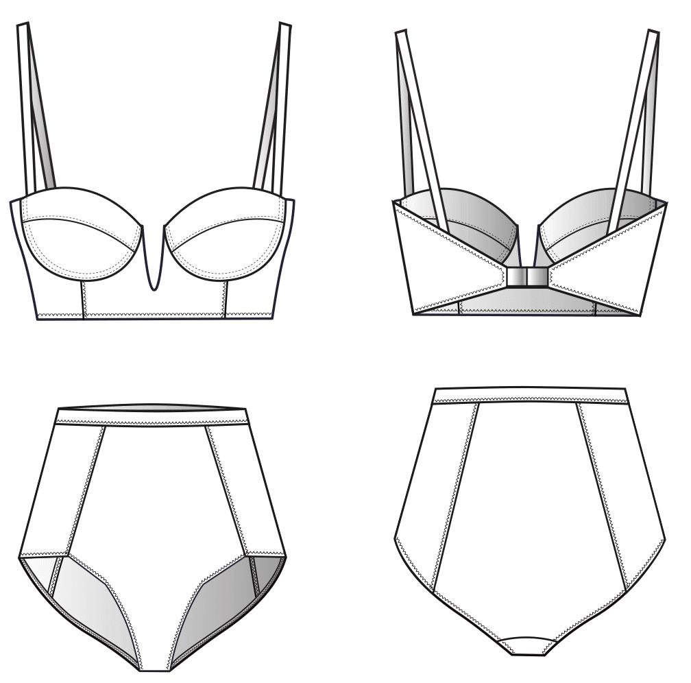 Technische Zeichnung von einem Bikini mit Korsage. Abgebildet sind die Vorder und Rückansicht