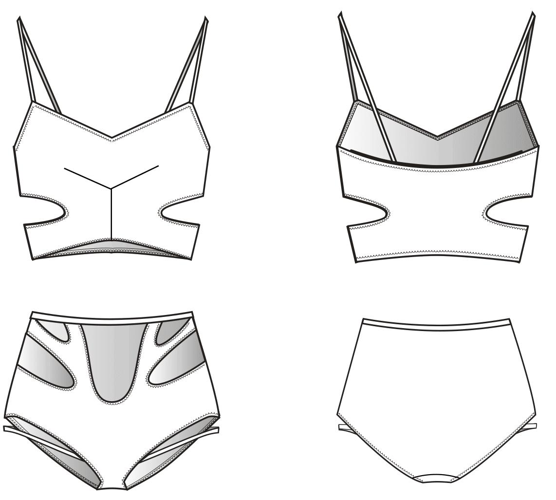 Technische Zeichnung eines Cut Out Bikinis. Zu sehen ist die Vorder und Rückansicht für die Konstruktion.