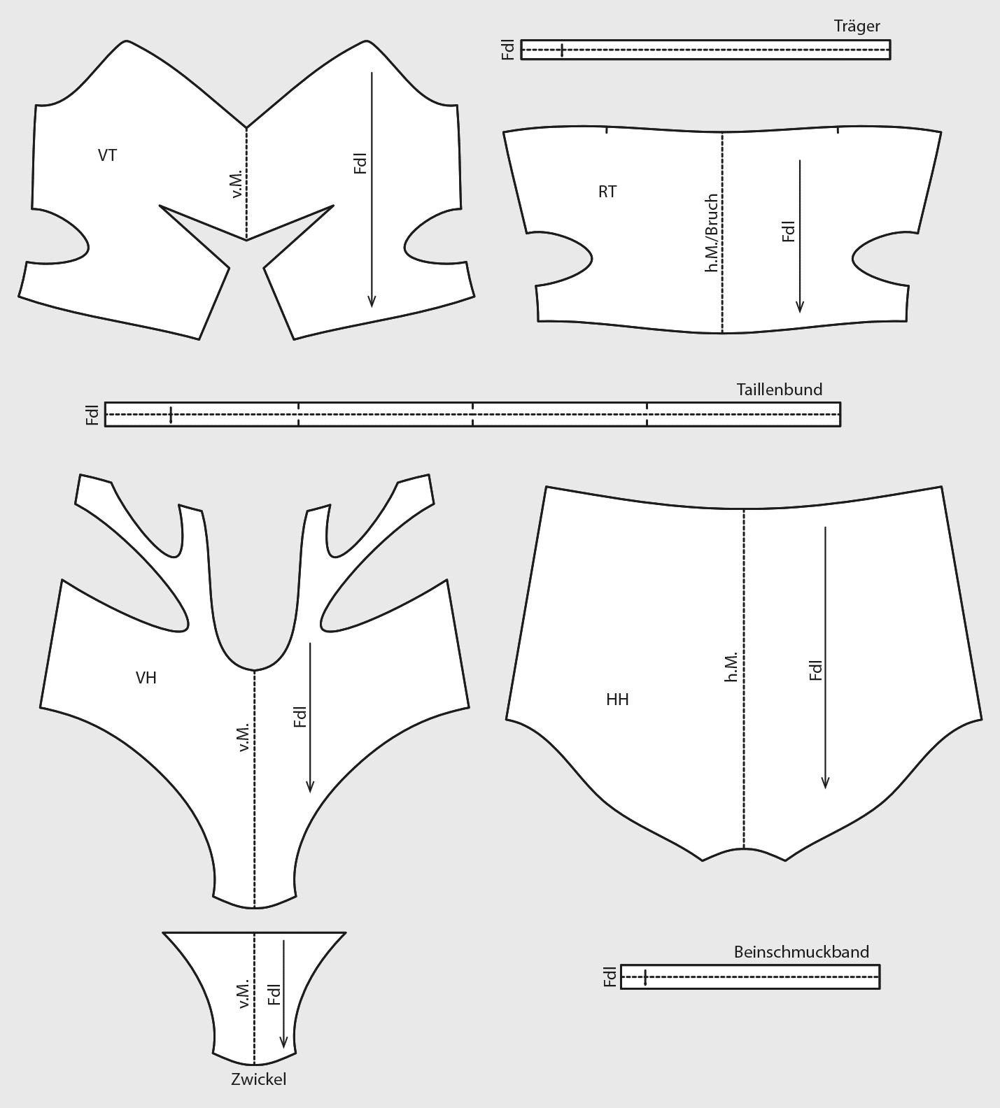 Die fertigen Schnittteile des Bikinis mit Cutouts ist zu sehen.