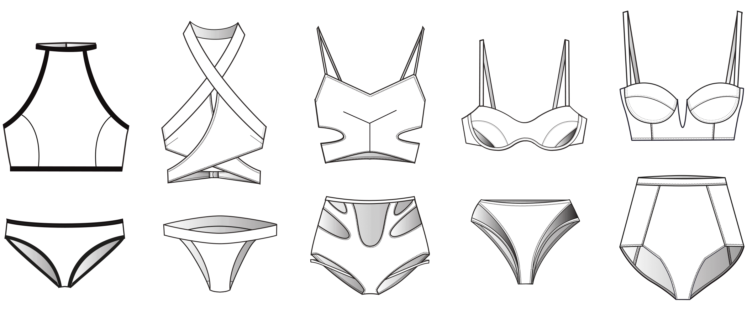 Alle technischen Zeichnungen der Bademode sind abgebildet. Alle Zeichnungen werden schnittttechnisch umgesetzt.