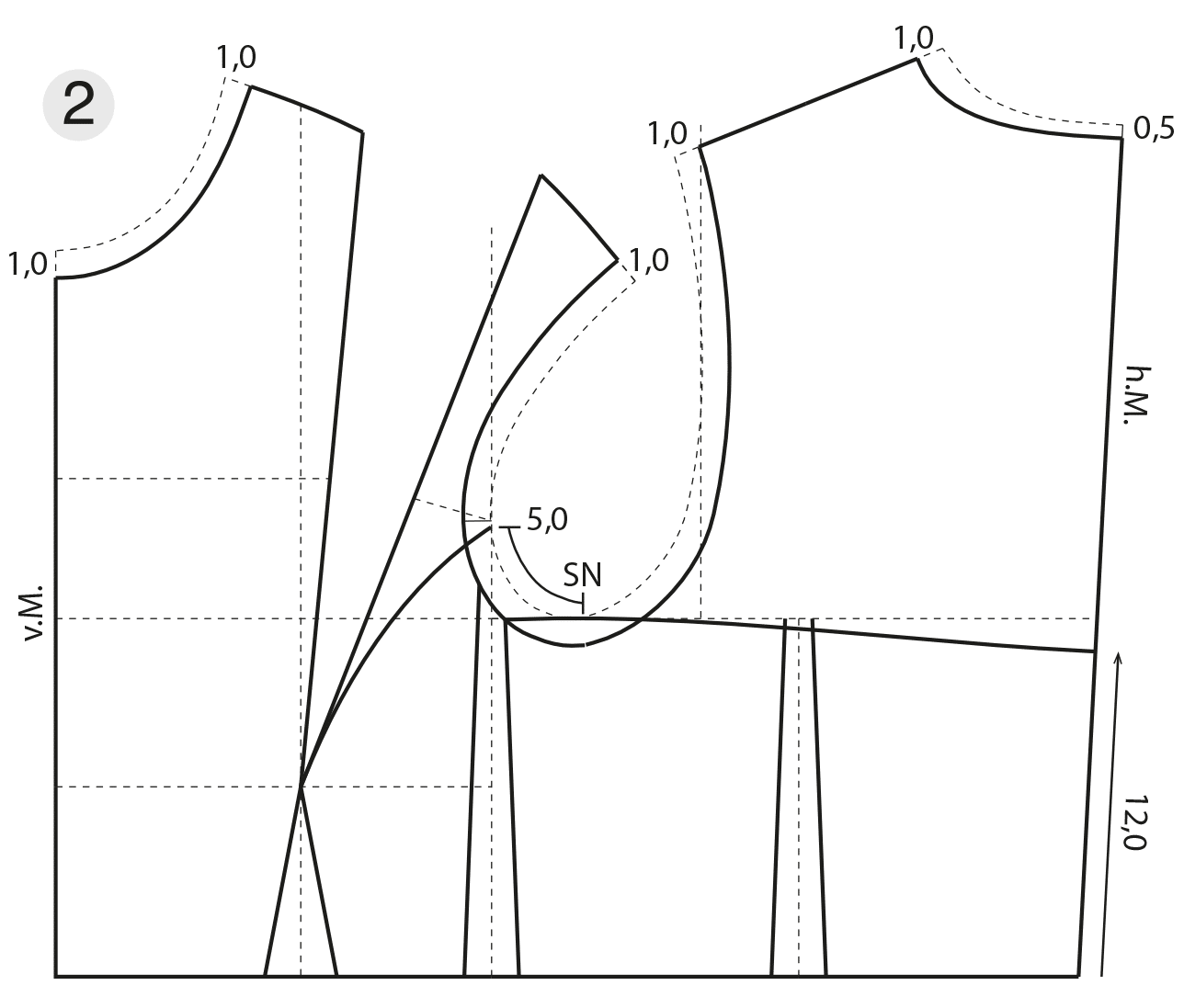 Abgebildet ist die Schnitttechnik von einem Sportswear Bikini für Damen.