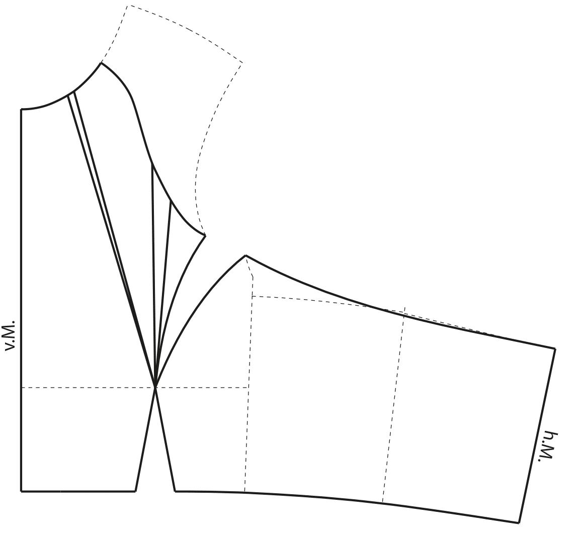 Die Abnäherverlgung an dem Vorderteil für den Sportswear Bikini wird vorgenommen.
