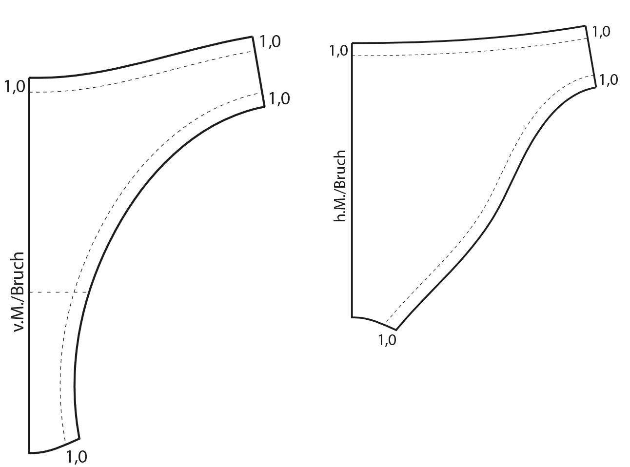 Die Schnittteile der Vorder- und Hinterhose werden rauskopiert und anschließend die Paspelpositionen der Taillenpaspel und der Beinauschnittpaspeln mit jeweils 1,0 cm eingezeichnet.