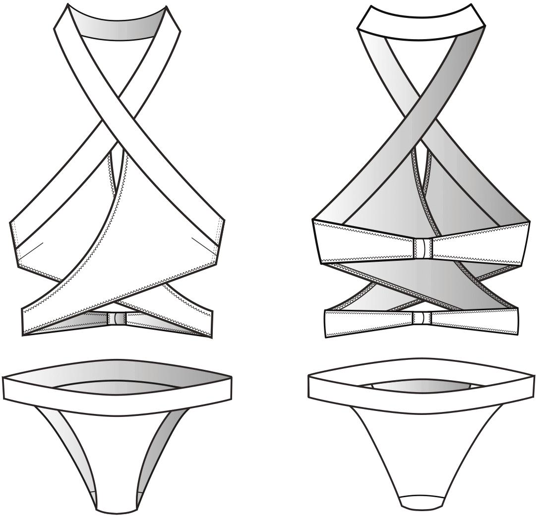 Die technischen Zeichnung eines Wickelbikinis ist zu sehen.