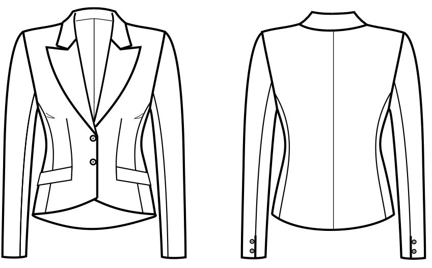 Die Vorder- und Rückansicht einer technischen Zeichnung eines Blazer ist zu sehen.