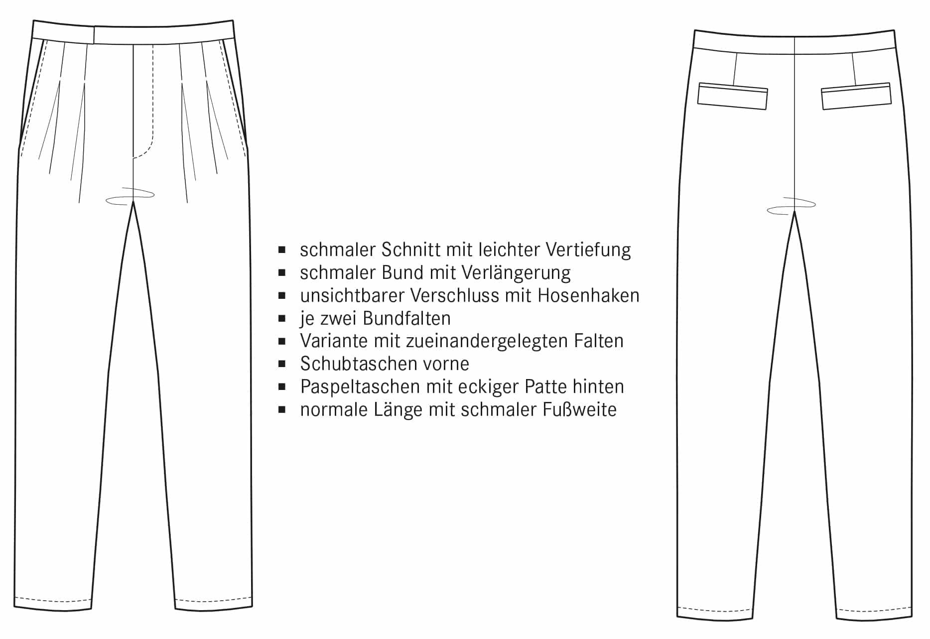 Technische Zeichnung Bundfaltenhose mit schmalem Bund.