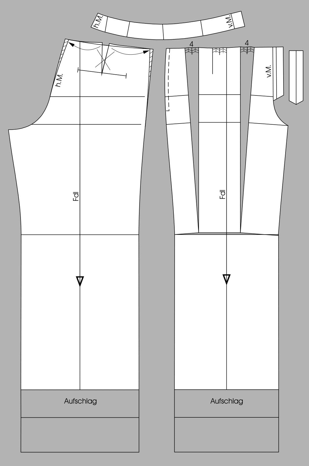 Die fertigen Schnittteile einer Bundfaltenhose ist zu sehen.