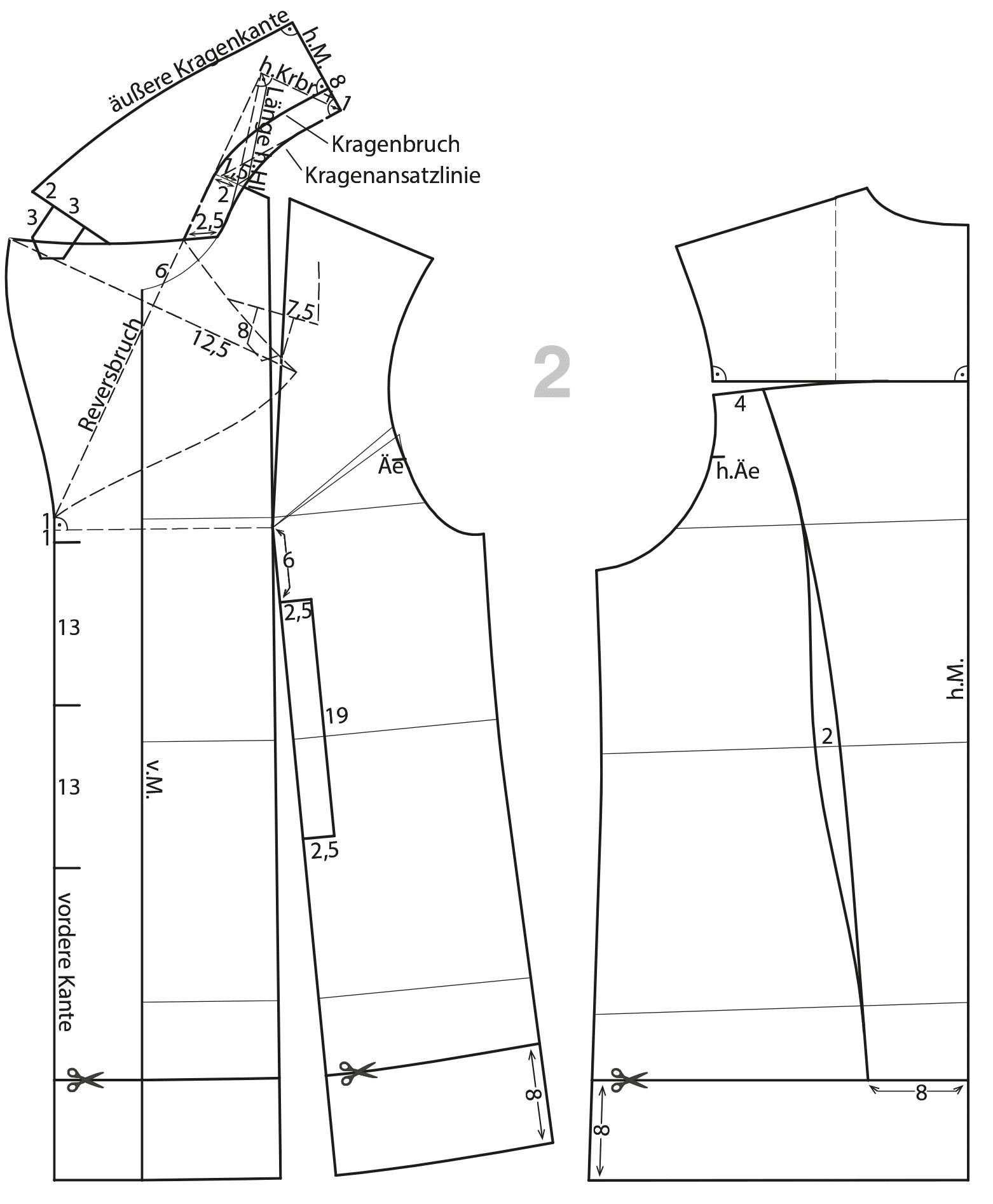 Die Schnittkonstruktion einer Cabanjacke mit Kragenanlage ist abgebildet und beschrieben.