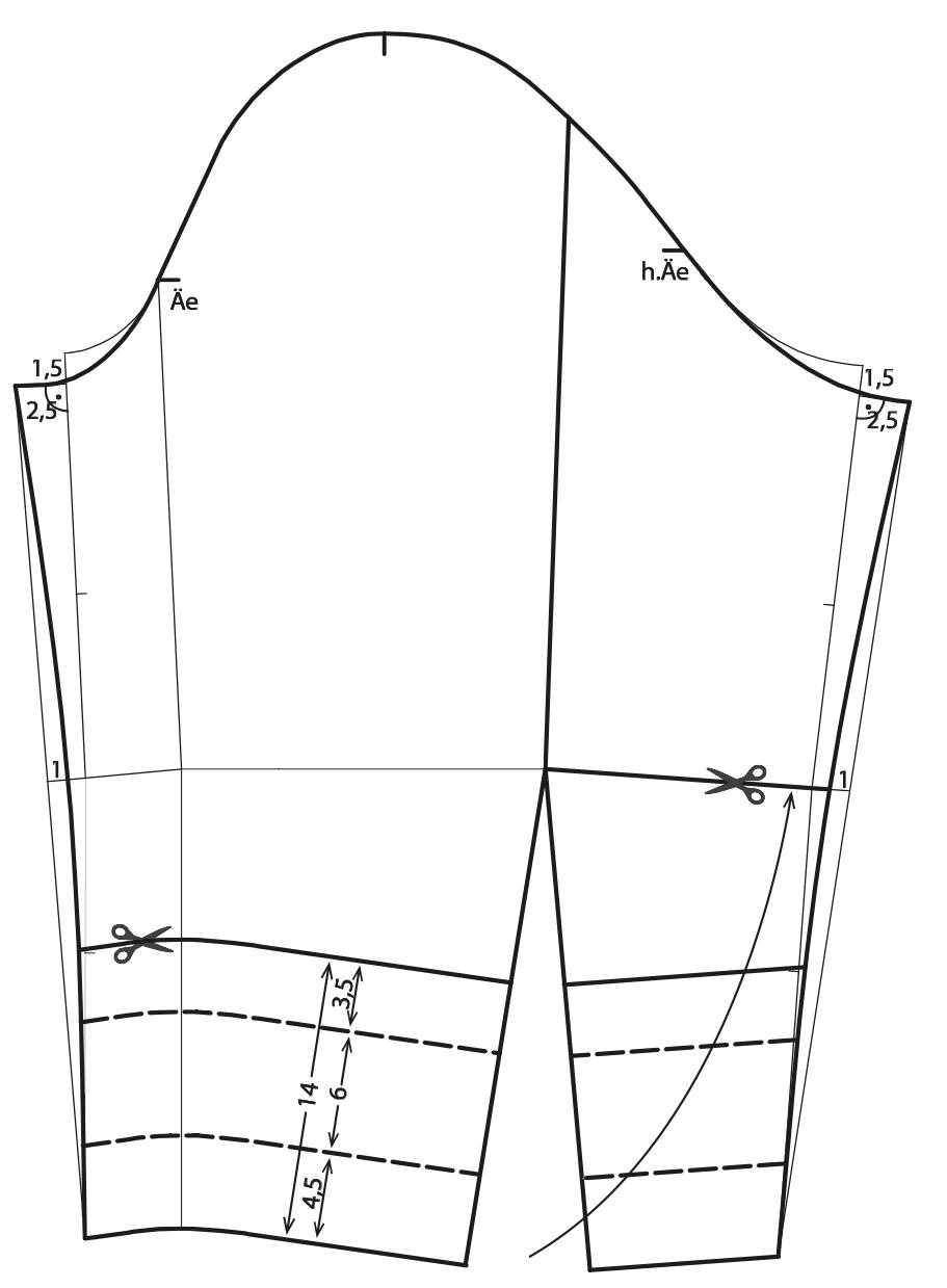 Die Schnittkonstruktion eines Ärmels für eine Caban Jacke ist abgebildet.