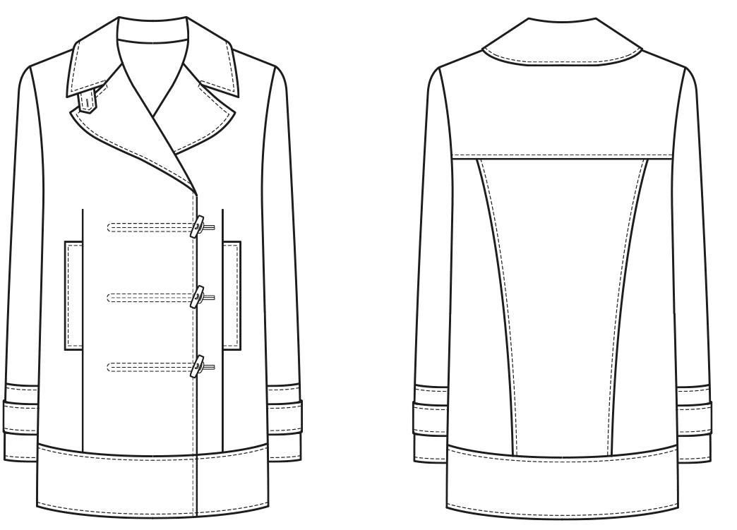 Die technische Zeichnung einer Caban Jacke ist zu sehen. Abgebildet ist die Vorder- und Rückansicht der Jacke mit allen Details.