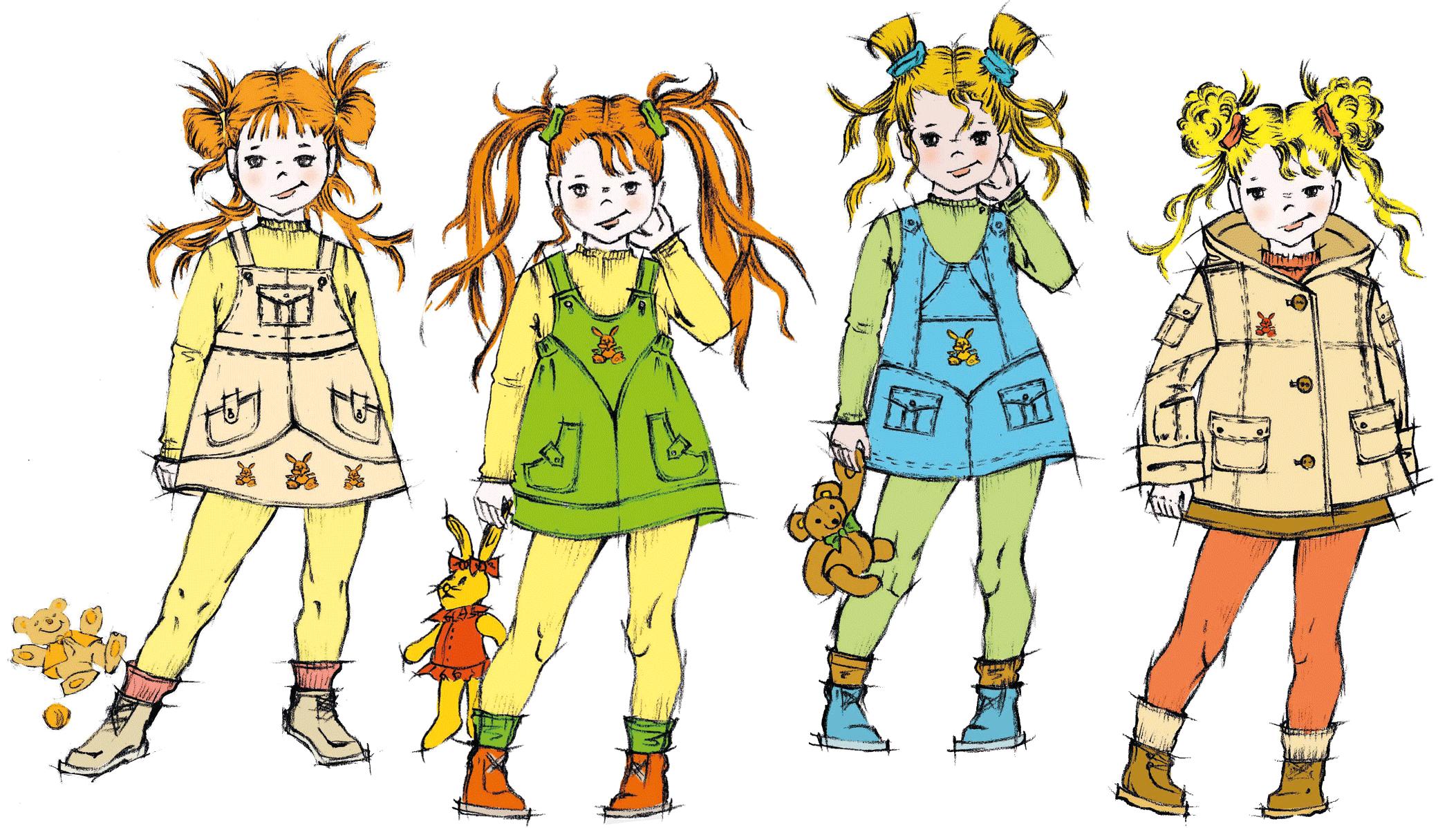 Vier Kindermodelle für Latzrock und Kleider sind abgebildet.