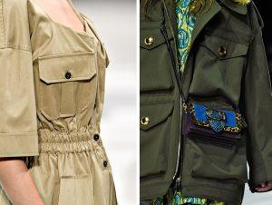 Laufsteg-Fotos von Cargotaschen auf einem beigen Kleid und einer khakifarbenen Jacke