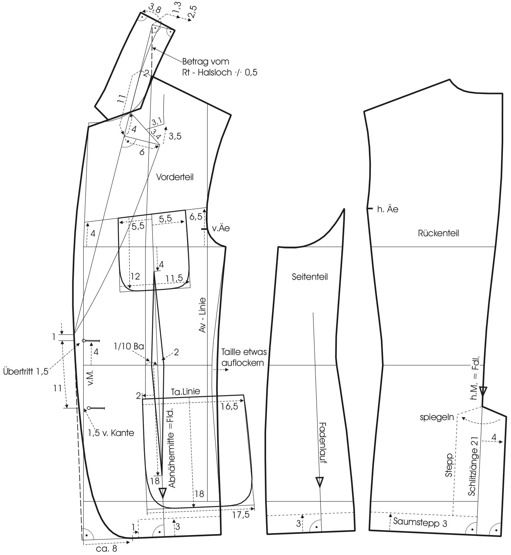 Die Abbildung zeigt die Schnittkonstruktion eines Vorderteils und eines Rückenteil von einer Casual Jacke.