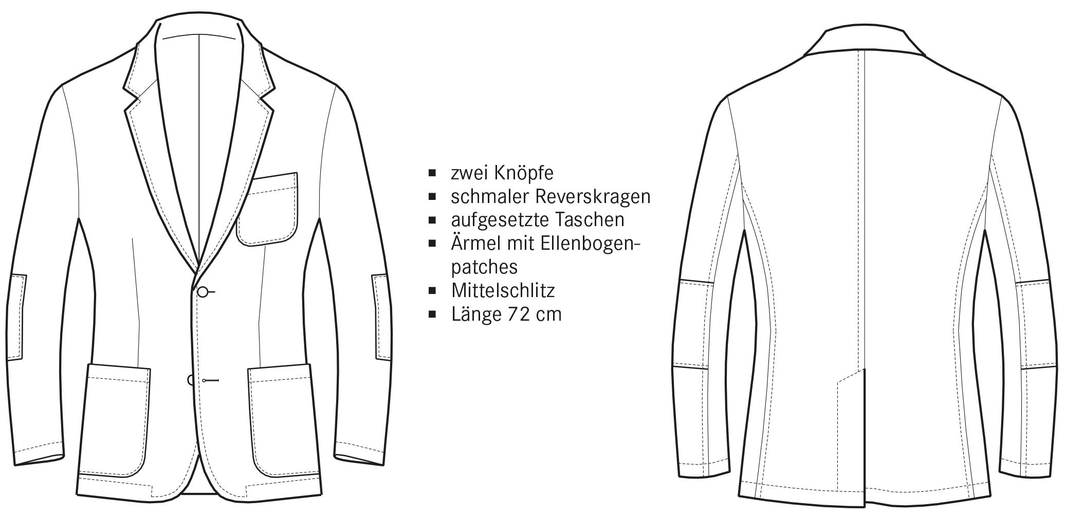 Technische Zeichnung einer Casual Jacket Vorder- und Rückansicht.