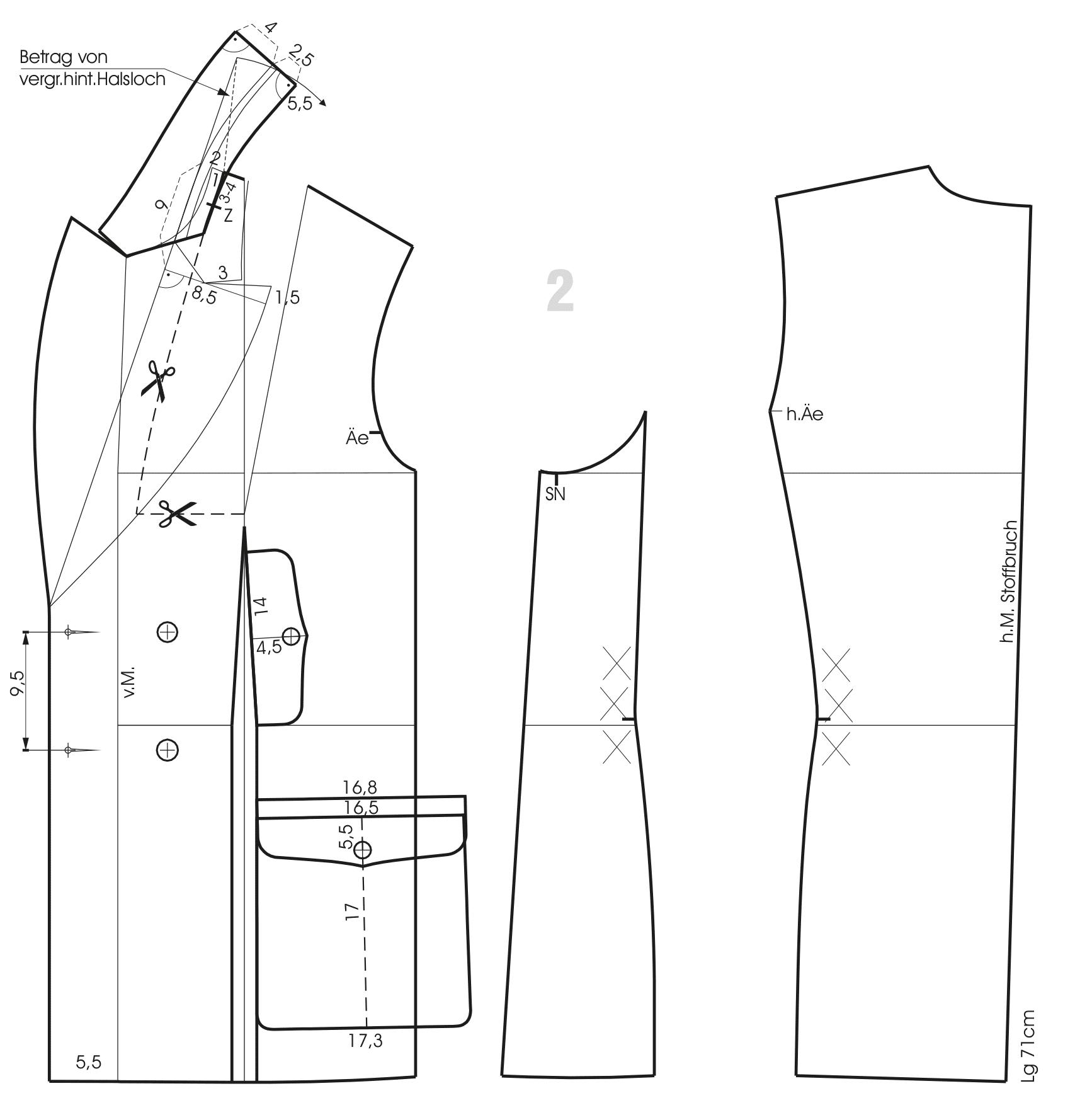 Schnittkonstruktion Vorderteil Rückenteil Jacke