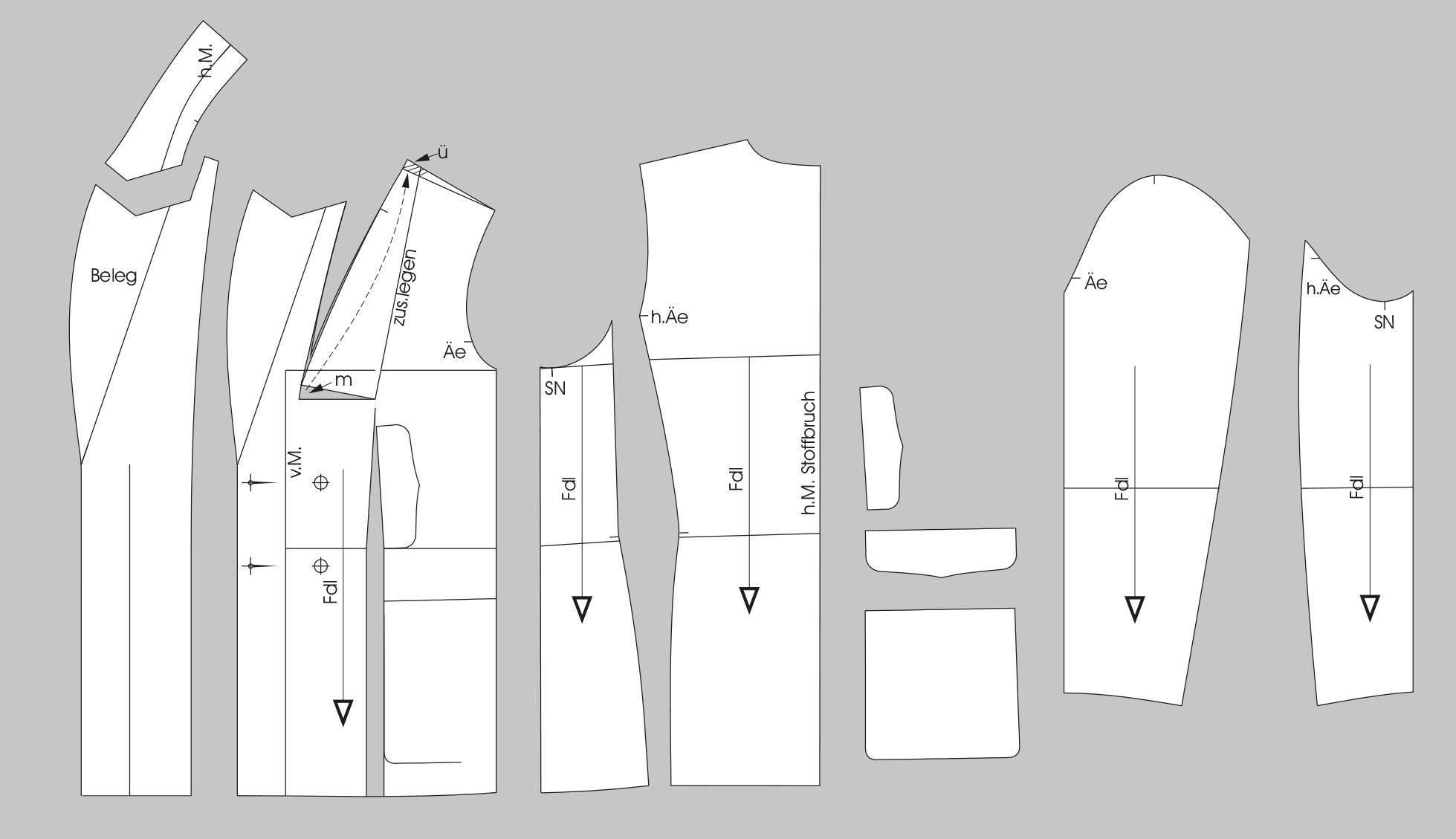 Fertige Schnittteile Schnitttechnik Jacke