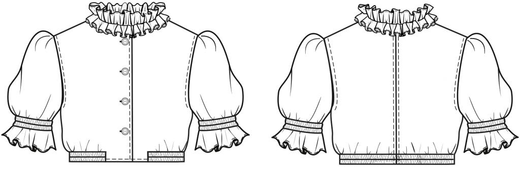 Diese technische Zeichnung zeigt die Vorder-und Rückansicht von einer Dirndl-Bluse für Kinder Dieses Modell gibt es als Schnittmuster.