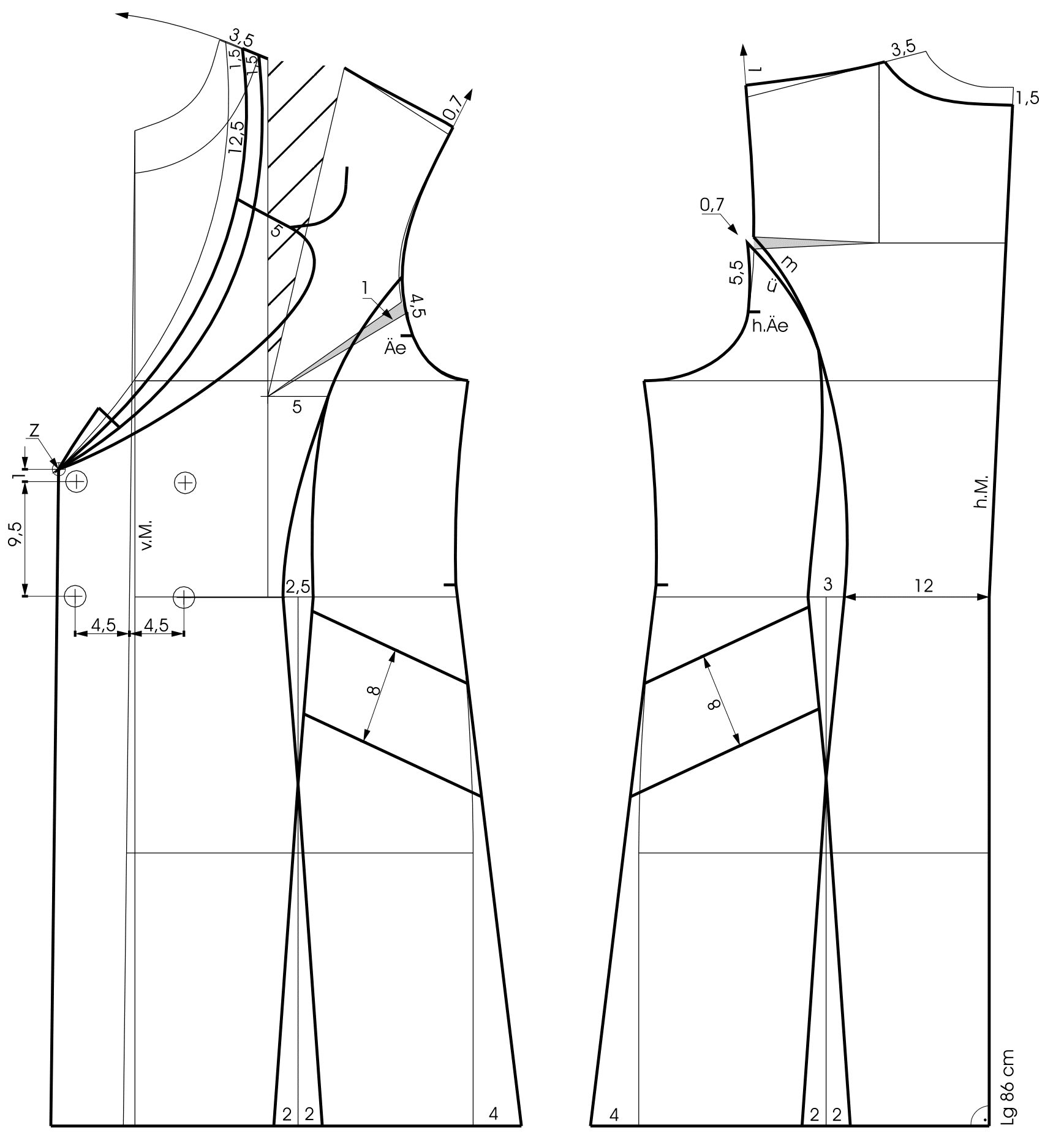 The pattern construction of a double row coat