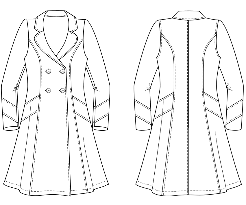 pattern construction of a double row coat for ladies