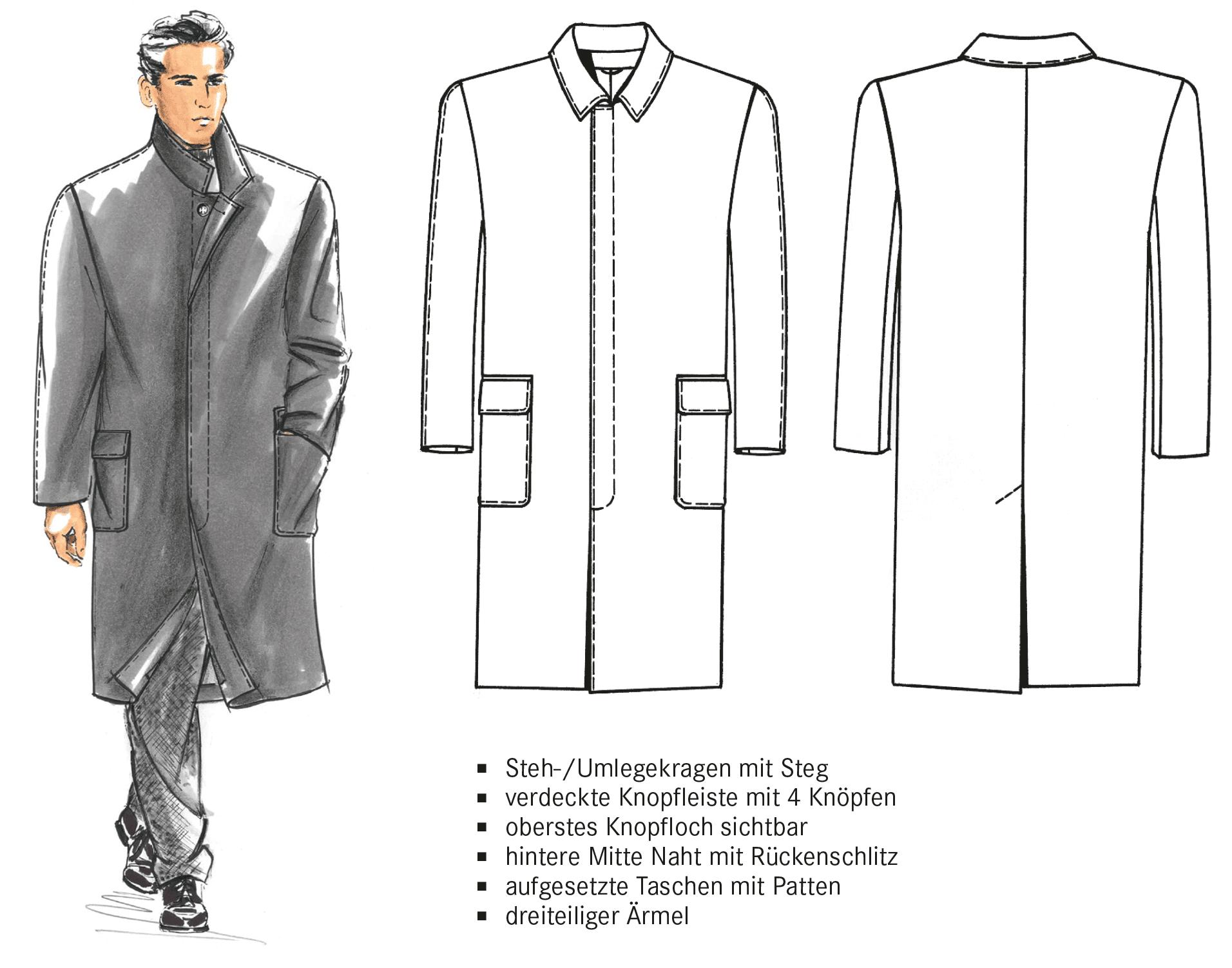 Technische Zeichnung eines Einreihigen Mantels.