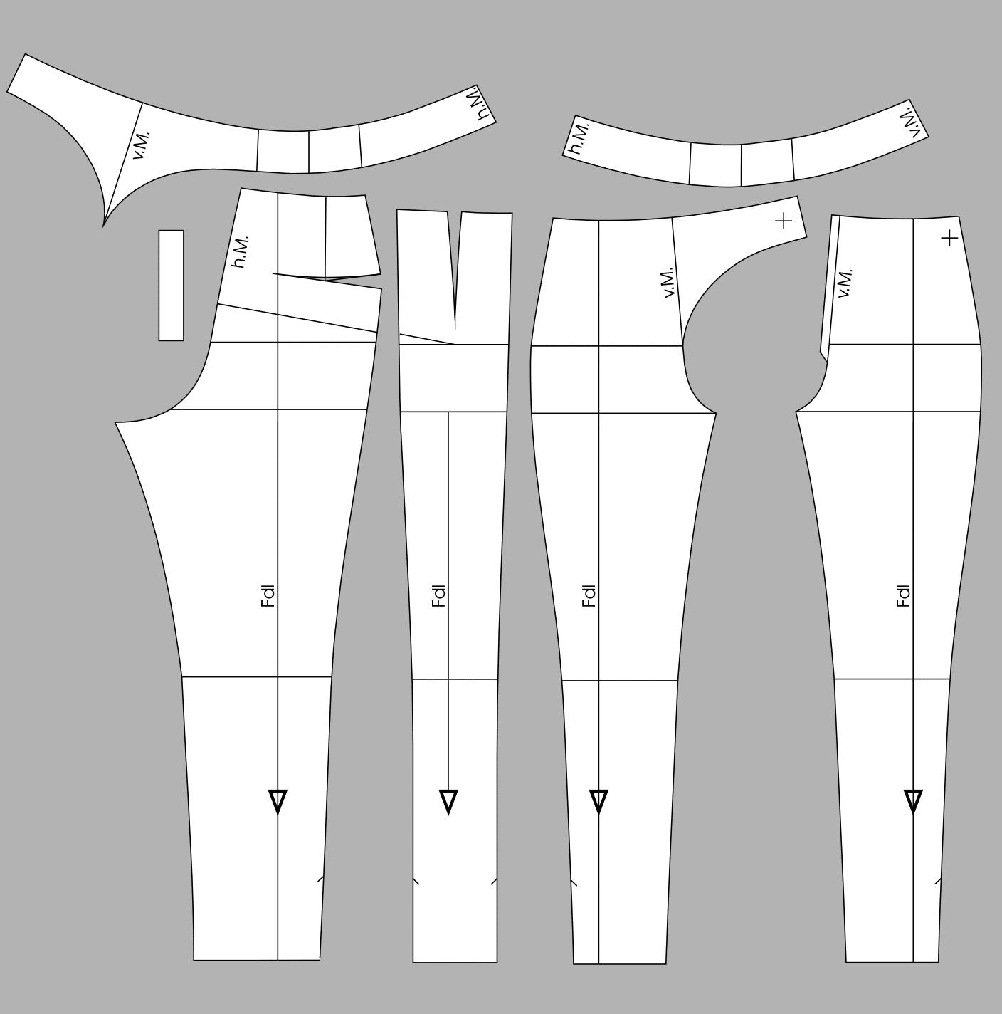 Die Abbildung zeigt die fertigen Schnittteile einer 7/8 Hose mit verlegter Seitennaht.
