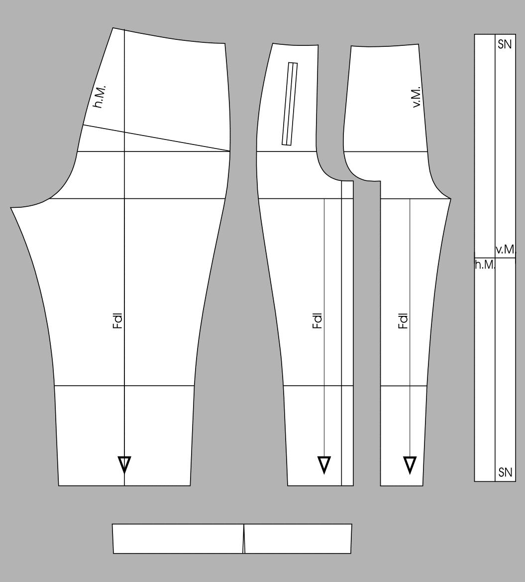 Die fertigen Schnittteile einer Caprihose ist zu sehen.