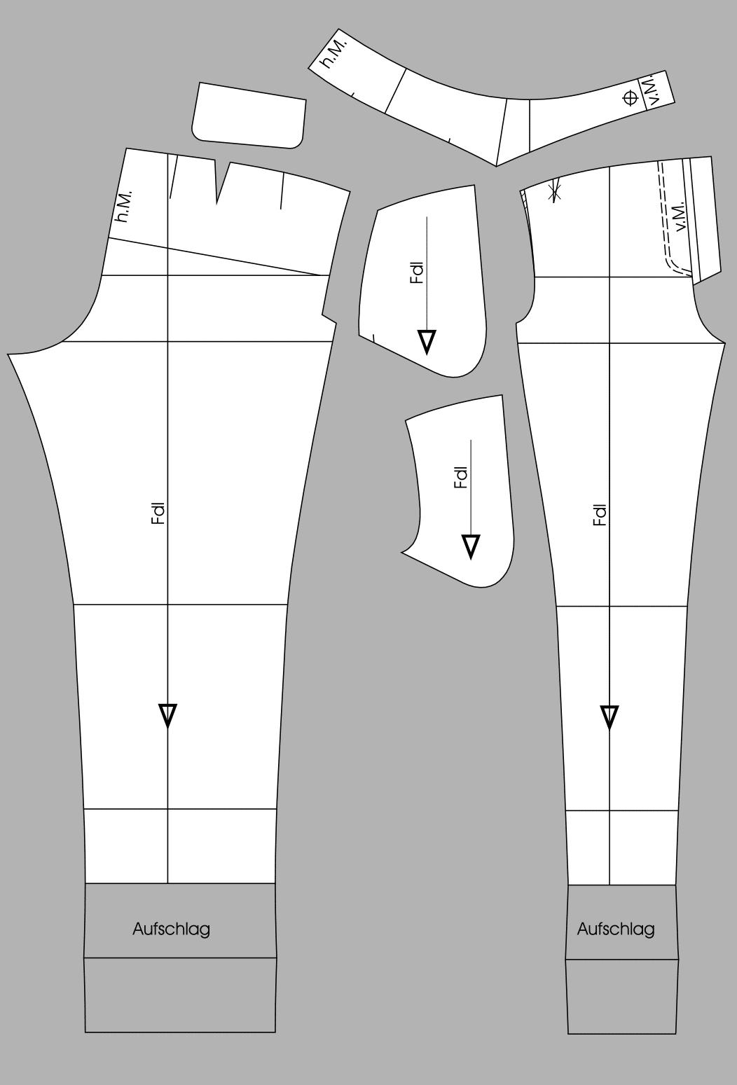 Die fertigen Schnittteile der Hose mit Passe sind zu sehen.